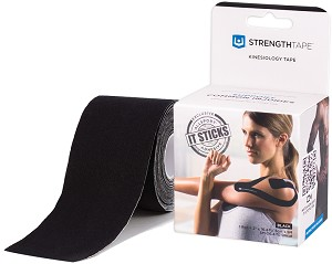 StrengthTape Kinesiology Tape 5M Precut Roll - Black
